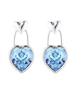 Austrian Crystal Heart Pendant Romantic Fashion Platinum Plated Alloy Women Earrings - Blue