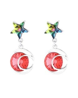 Star and Moon Combo Design Dangling Style Austrian Crystal Platinum Plated Alloy Women Earrings - Red