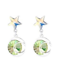 Star and Moon Combo Design Dangling Style Austrian Crystal Platinum Plated Alloy Women Earrings - Green