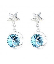 Star and Moon Combo Design Dangling Style Austrian Crystal Platinum Plated Alloy Women Earrings - Blue