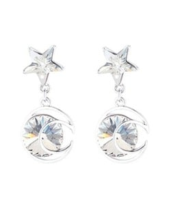 Star and Moon Combo Design Dangling Style Austrian Crystal Platinum Plated Alloy Women Earrings - White