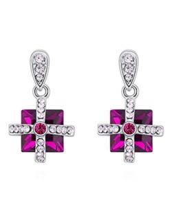Elegant Cross and Square Combo Platinum Plated Alloy Austrian Crystal Women Earrings - Red