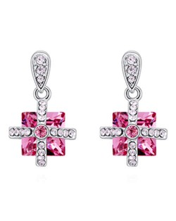 Elegant Cross and Square Combo Platinum Plated Alloy Austrian Crystal Women Earrings - Rose