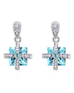 Elegant Cross and Square Combo Platinum Plated Alloy Austrian Crystal Women Earrings - Aquamarine