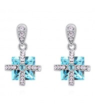 Elegant Cross and Square Combo Platinum Plated Alloy Austrian Crystal Women Earrings - Aquamarine