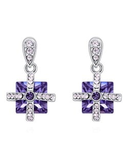 Elegant Cross and Square Combo Platinum Plated Alloy Austrian Crystal Women Earrings - Violet