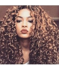African Curly Style Middle Side Part Fluffy Long Hair Women Synthetic Wig