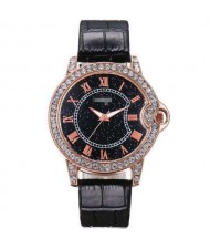 5 Colors Available Rhinestone Rimmed Roman Numerals Starry Index Design Women Fashion Leather Wrist Watch