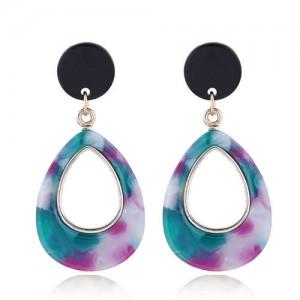 Resin Waterdrop Western High Fashion Women Hoop Earrings - Teal and Purple