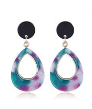 Resin Waterdrop Western High Fashion Women Hoop Earrings - Teal and Purple