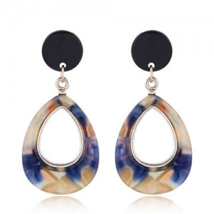 Resin Waterdrop Western High Fashion Women Hoop Earrings - Blue and Brown