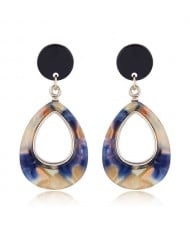Resin Waterdrop Western High Fashion Women Hoop Earrings - Blue and Brown