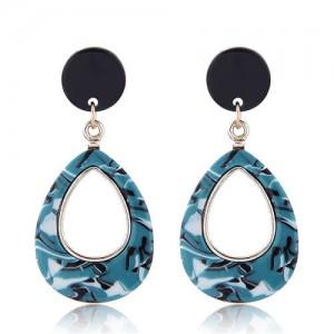 Resin Waterdrop Western High Fashion Women Hoop Earrings - Green