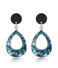 Resin Waterdrop Western High Fashion Women Hoop Earrings - Green