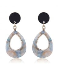Resin Waterdrop Western High Fashion Women Hoop Earrings - Light Brown and Blue