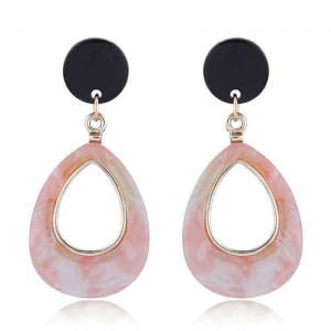 Resin Waterdrop Western High Fashion Women Hoop Earrings - Pink