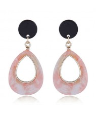 Resin Waterdrop Western High Fashion Women Hoop Earrings - Pink