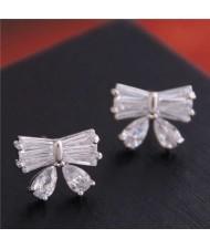 Delicate Korean Fashion Sweet Bowknot Cubic Zirconia Women Earrings