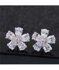 Sweet Korean Style Flower Design Cubic Zirconia Women Copper Earrings - Silver
