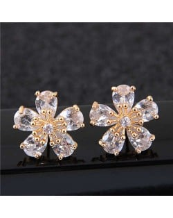 Sweet Korean Style Flower Design Cubic Zirconia Women Copper Earrings - Golden