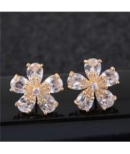 Sweet Korean Style Flower Design Cubic Zirconia Women Copper Earrings - Golden