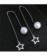 Adorable Star Pendant Pearl Fashion Unique Design Women Copper Earrings