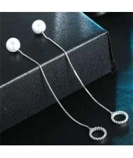 Graceful Mini Hoops Pendants Pearl Fashion Women Copper Earrings