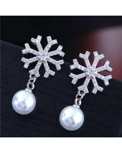 Snowflake with Pearl Pendant Korean Fashion Women Copper Costume Earrings