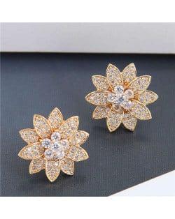 Cubic Zirconia Delicate Shining Flower Design Korean Fashion Women Copper Earrings - Golden