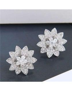 Cubic Zirconia Delicate Shining Flower Design Korean Fashion Women Copper Earrings - Silver