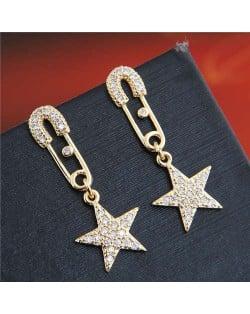 Cubic Zirconia Embellished Star Pendant Pin Design Unique Fashion Women Copper Earrings - Golden
