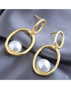 Pearl Inlaid Graceful Golden Hoop Design Korean Fashion Women Costume Earrings
