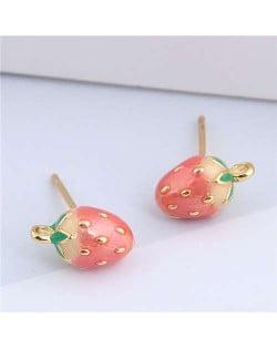 Enamel Strawberry Design Korean Fashion Women Copper Stud Earrings