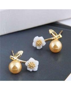 Plum Blossom Golden Bead Design Korean Fashion Copper Women Earrings