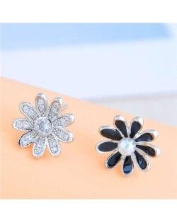 Cubic Zirconia Embellished Silver and Black Asymmetric Design Sweet Flower Women Stud Earrings