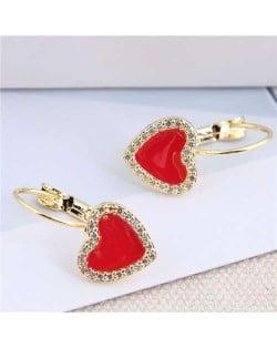 Rhinestone Rimmed Red Heart Design Golden Fashion Women Ear Clips