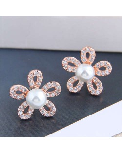 Pearl Inlaid Luxurious Cubic Zirconia Hollow Flower Design Women Copper Stud Earrings - Rose Gold