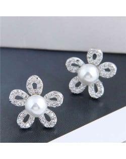 Pearl Inlaid Luxurious Cubic Zirconia Hollow Flower Design Women Copper Stud Earrings - Silver