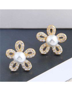 Pearl Inlaid Luxurious Cubic Zirconia Hollow Flower Design Women Copper Stud Earrings - Golden
