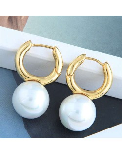 Natural Pearl Decorated Golden Mini Hoop Women Copper Earrings