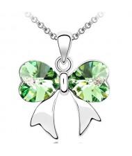 Elegant Olive Crystal Bowknot Pendant Necklace