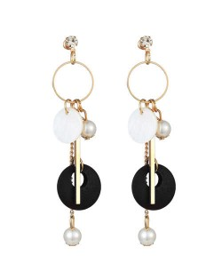 Seashell Wooden Hoop and Pearl Pendants Mixed Elements Design High Fashion Women Earrings - Black