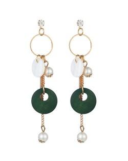 Seashell Wooden Hoop and Pearl Pendants Mixed Elements Design High Fashion Women Earrings - Green