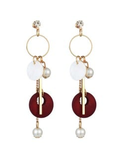 Seashell Wooden Hoop and Pearl Pendants Mixed Elements Design High Fashion Women Earrings - Red