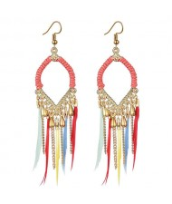 Leather and Beads Chain Tassel Design Waterdrop Design Bohemian Fashion Women Hoop Earrings