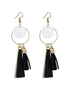 Geometric Pendants with Leather Tassel Design Elegant Hoop Dangling Fashion Women Alloy Earrings - Black