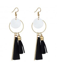 Geometric Pendants with Leather Tassel Design Elegant Hoop Dangling Fashion Women Alloy Earrings - Black