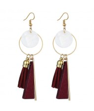 Geometric Pendants with Leather Tassel Design Elegant Hoop Dangling Fashion Women Alloy Earrings - Red