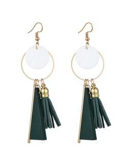 Geometric Pendants with Leather Tassel Design Elegant Hoop Dangling Fashion Women Alloy Earrings - Green