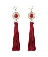 Long Threads Tassel with Round Golden Pendant Bohemian Fashion Women Costume Earrings - Red